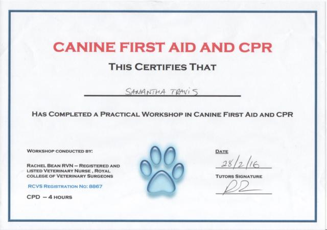 Sammie Travis Canine First Aid & CPR Certificate